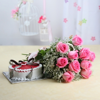 Roses with Strawberry Cake Combo