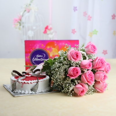 Assorted Flowers and Chocolates with Strawberry Cake Combo