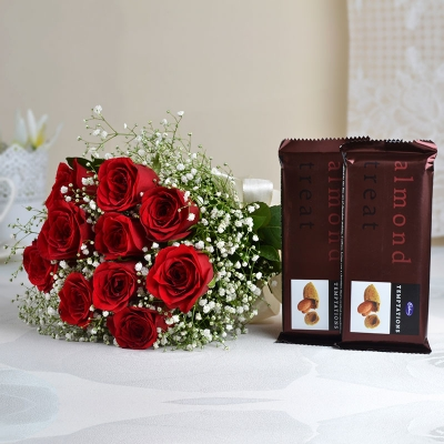 10 Red Roses with Chocolates