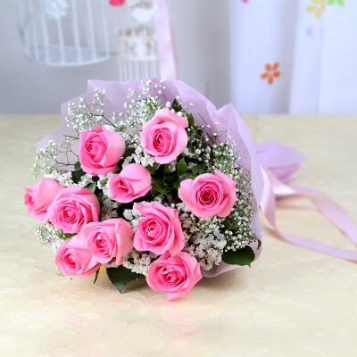 10 Pink Roses in a Bunch