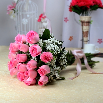 20 Pink Roses in a Bunch
