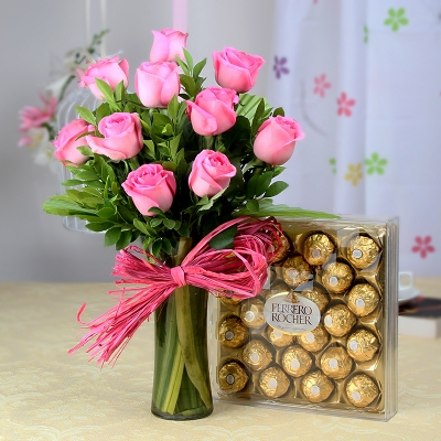 Pink Roses Arranged in Vase with Ferrero Rochers