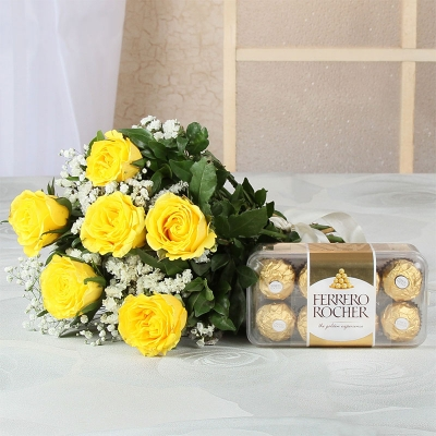 Yellow Roses with Ribbon and Ferrero Rochers Box