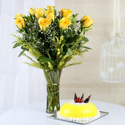 Yellow Roses Arranged in Vase with Pineapple Cake