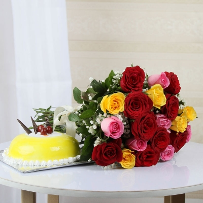 Assorted Roses with Pineapple Cake Combo