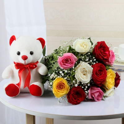 Mix Roses Bunch with Teddy Bear