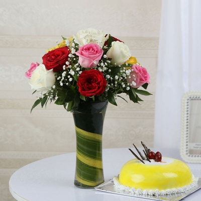 Twelve Mix Roses with Pineapple Cake
