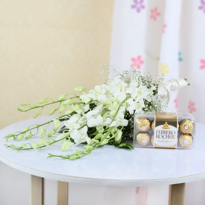 6 Soothing White Orchids & Ferrero Rocher Combo