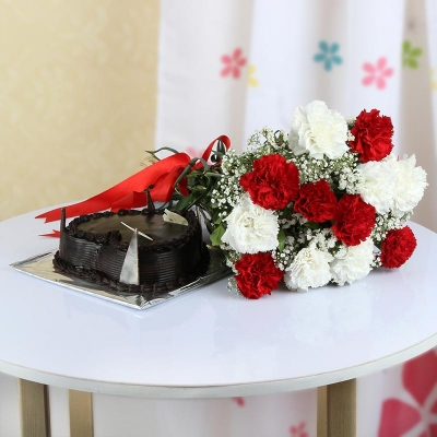 Heart Shape Chocolate Cake with Mix Carnations Bunch