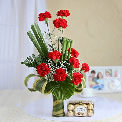 Heady Red Carnations with Chocolate Box