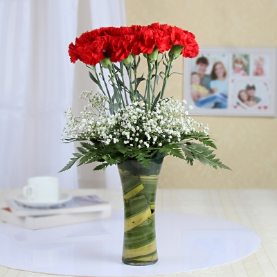 Stylish Red Carnations Bouquet