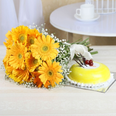 Yellow Gerberas and Pineapple Cake