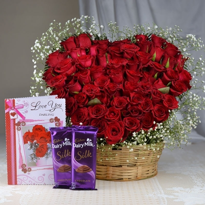 Heart Shaped 100 Red Roses with Card and Chocolate