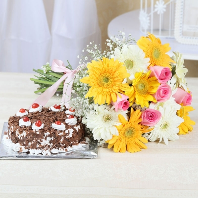 Mixed Flowers & Black Forest Combo