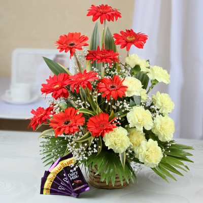 Carnations and Gerberas with Chocolates