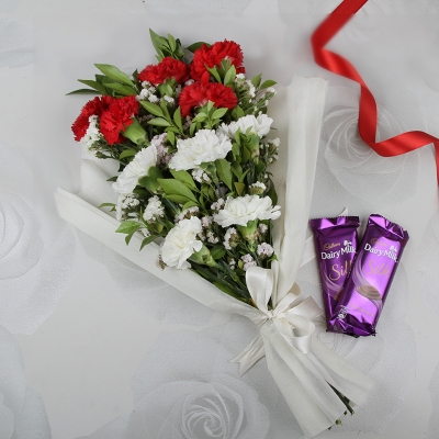 Red, White Carnations & Tempting Chocolate