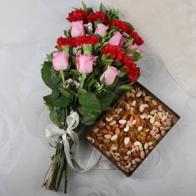 Flower Bunch and Dry Fruits Combo