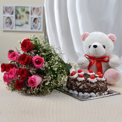 Pink and Red Roses Bunch with Cake and Teddy