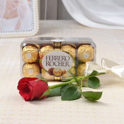 Ferrero Rocher with a Red Rose