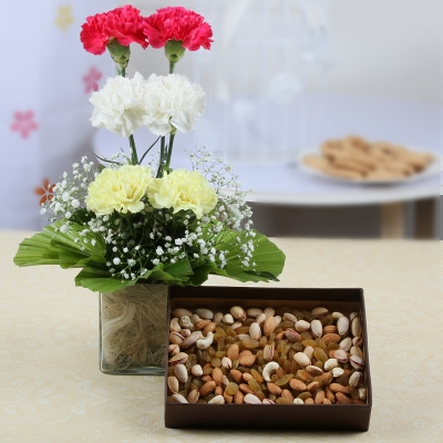 Vase Arrangement of Carnations with Assorted Dry Fruits