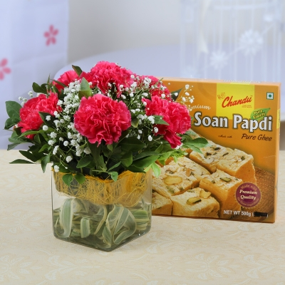 Vase Arrangement of Carnations with Soan Papdi