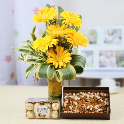Gerberas with Dry Fruits and Chocolates