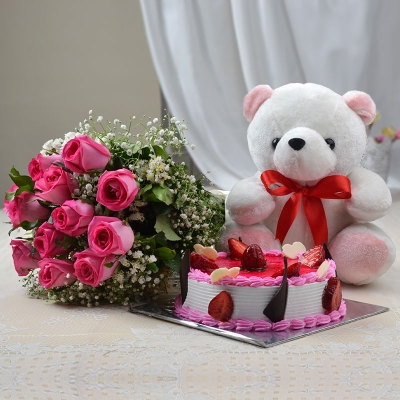 12 Pink Rose Bunch with Cake and Teddy