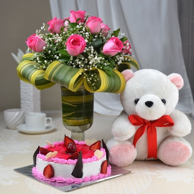 12 Pink Rose Bunch with Teddy and Cake