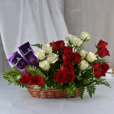 Basket of Red and White Roses with Chocolate