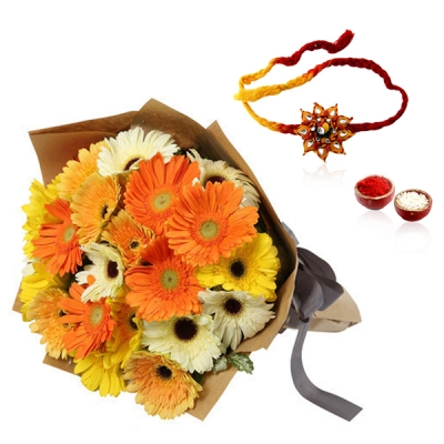 Mix Colourful Gerberas for Bhaiya