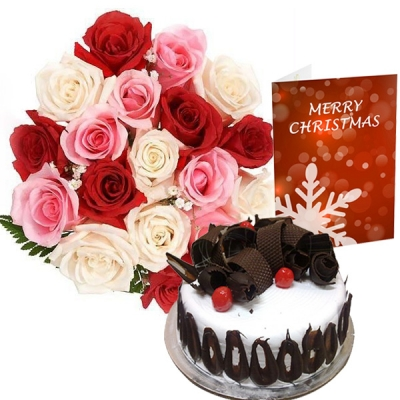 Roses and Black Forest Cake on Merry Christmas