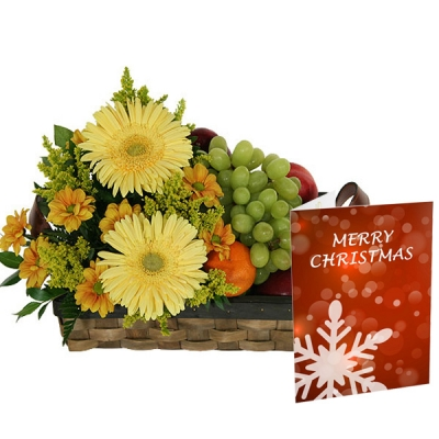 Yellow Flowers and 3 kg Fresh Fruits in Basket