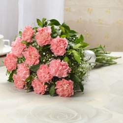 Amazing Pink Carnations with cellophane wrapping
