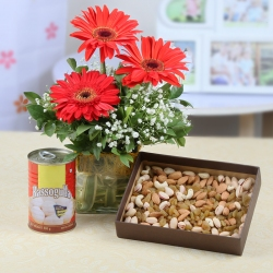 Red Gerberas Vase Arrangement with Dry Fruits Box