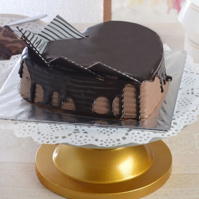 Delicious Chocolate Cake in Heart Shape