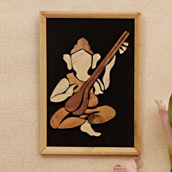 Auspicious Veena Ganesha : Wooden Relief Paintings