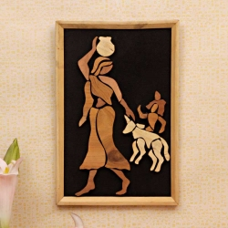 Matka Lady, Krishana with Cow : Wooden Relief Paintings