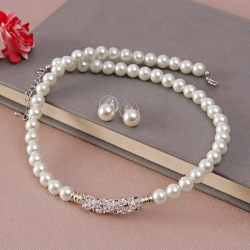 Elegant White Pearl Necklace with Earrings