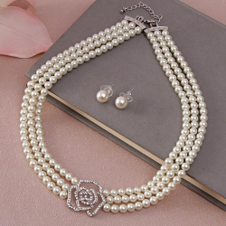 Pearl Necklace with Rose Shape Pendant and Earrings