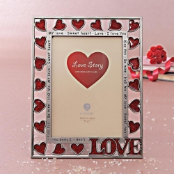 Rectangular Photo Frame with Hearts