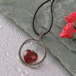 Heart in a Designer Circle Pendant