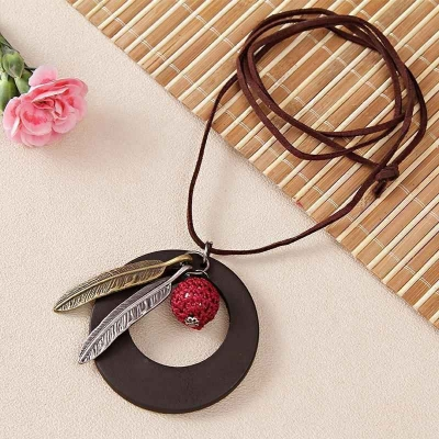 Designer Feather Shaped Pendant with Leather String