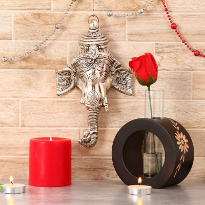 Ganesha Wall Hanging with Candle and Flower Holder