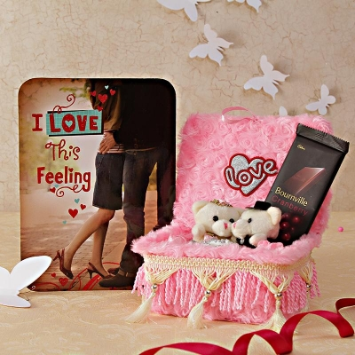 Love Card with Bourneville Cranberry and Teddy Couple Bed