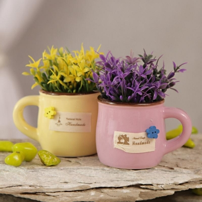 Ceramic Pot with Matching Artificial Flowers