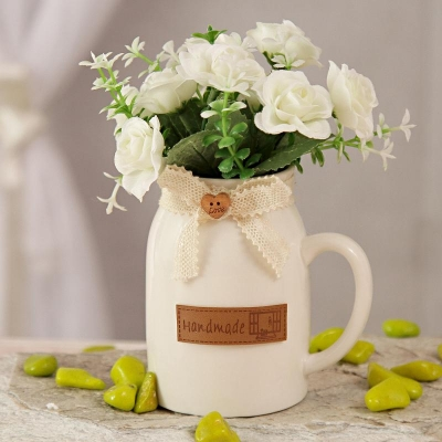 White Ceramic Pot with Artificial Flowers
