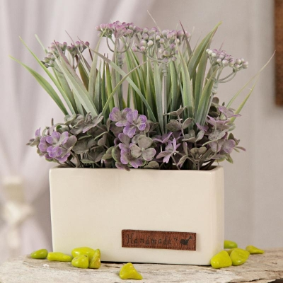 Square Ceramic Pot with Lavender Artificial Flowers