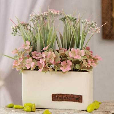 Pink Artificial Flowers in Square Ceramic Pot