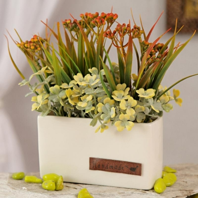 Yellow Artificial Flowers with Leaves in Square Pot