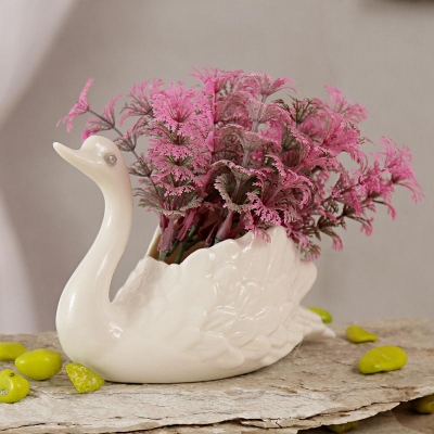 Swan Ceramic Pot with Mauve Artificial Flowers